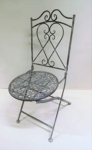 Ziegler Gartenstuhl Klappstuhl Metallstuhl Stuhl Metall Eisen grau Shabby SW190202