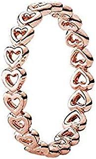 Pandora Women's Gold Plated Rose Heart Stacking Ring - 52 EU - 180177-52