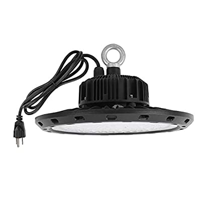 UFO High Bay LED Lighting 5000K White with US Plug 5' Cable Super Bright LED Warehouse Light, IP65 Waterproof High Bay Shop Light Fixtures for Factory Garage Gym