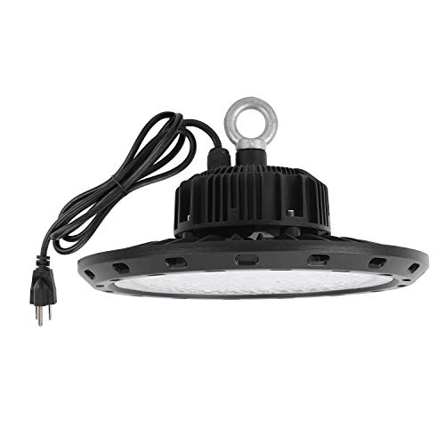 UFO High Bay LED Light 100W 5000K White with US Plug 5 ft Cable LED Warehouse Light, IP65 Waterproof High Bay Shop Light Fixtures for Factory Garage Gym