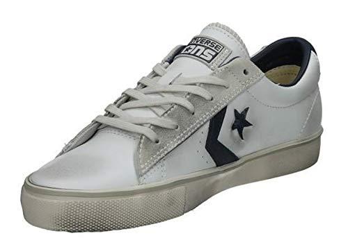 Converse Lifestyle PRO Lthr Vulc Ox, Scarpe da Ginnastica Basse Unisex-Adulto, Bianco (White/Navy/Turtledove 111), 40 EU