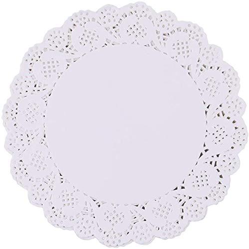 Rund Papierdeckchen,100 Stücke Tortenspitze Papier Runde Spitze Papiermatten Tischsets,Kuchen Verpackung Pads für Hochzeiten,Geburtstagsfeier,Geschirrdekoration(6.5 Zoll)