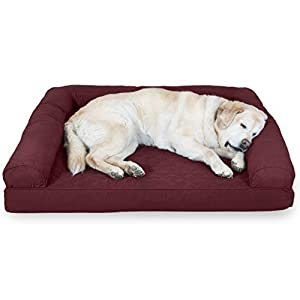 Furhaven Pet Dog Bed – Cooling Gel Memory Foam Quilted Traditional Sofa-Style Living Room Couch Pet Bed with Removable Cover for Dogs and Cats, Wine Red, Jumbo