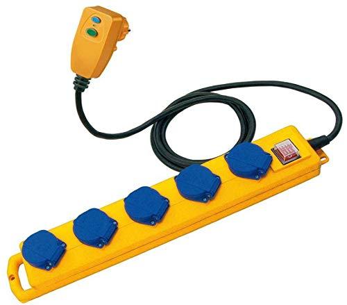 Brennenstuhl regleta de enchufes Super-Solid SL 554 con 5 tomas corriente - para jardín (cable de 5m, con interruptor de seguridad, IP54, clavija FI, para instalación, uso exterior) amarillo