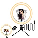TVLIVE Aro de Luz 10.2' con Tripode, 3 Modos de Luz, 10 Niveles de Brillo 360º Soporte Ajustable Ring Light, Anillo de Luz Control Remoto Inalámbrico, Aro de luz para Móvil TIK Tok Maquillaje Selfies