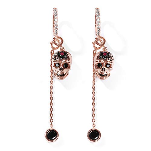 GNOCE Damen 925er Sterling Silber 18K Rose Gold überzogene Ohrringe Schädel mit Spinnen Perlen Ewigkeit des Lebens- Modeschmuck Geschenk für Frau Mädchen Schwester