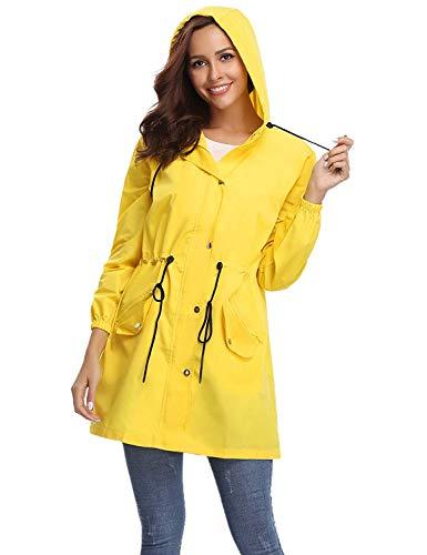 AMN00105_Y_S Abollria Damen Regenjacke Leicht Outdoor Windbreaker mit Einstellbare Kapuze und Eingrifftaschen Dünne Übergangjacke Wasserdicht