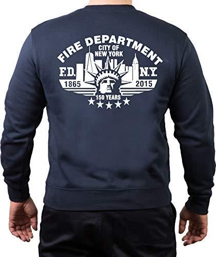 FEUER1 Sweatshirt Navy, New York City Fire Dept.150 Years 1865-2015 (M)