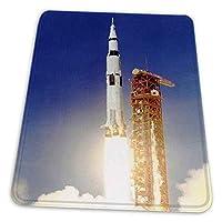ゲーミングマウスパッド - スペースアポロ11打ち上げサターンVロケットブラストスラストフレームアメリカ マウスパッド おしゃれ ゲームおよびオフィス用/防水/洗える/滑り止め/ファッショナブルで丈夫 25x30cm