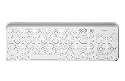 MIIIW K02 Dual-Mode Wireless Bluetooth Keyboard, Universal Keyboard (BT 4.0+2.4GHz USB) with 102-Key Round Keycaps, Scissor Switch, Integrated Holder, Ergonomic Design for Windows, Mac, iOS, Android