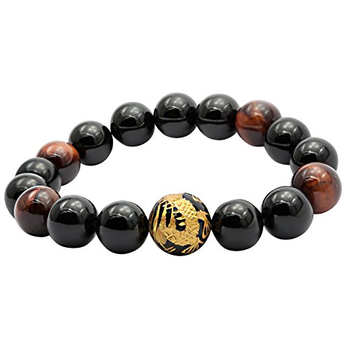 Con bolas engastadas Shamballa pulsera amuleto de la suerte Tibet oro Dragon drache ojo del tigre Onyx Pulsera Hombre Mujer 12 mm