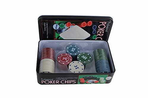 ELAELA Set de Póker Caja Metal de 100 Fichas de Póker