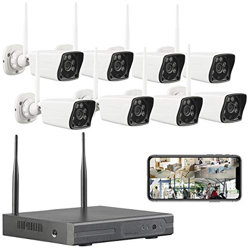 VisorTech LAN Kamera: Funk-Überwachungssystem: HDD-Rekorder, 8 Full-HD-Kameras & App-Zugriff (Kameraüberwachung)