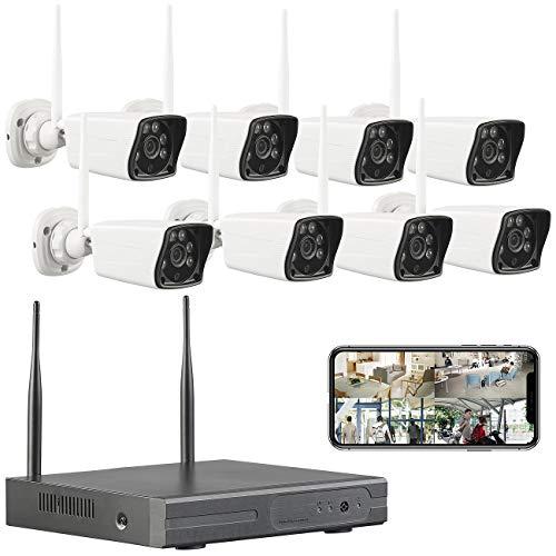 VisorTech Kamera Set: Funk-Überwachungssystem: HDD-Rekorder, 8 Full-HD-Kameras & App-Zugriff (Kamerasystem)