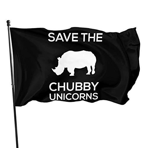 Ha99y Die 3x5ft Save The Chubby Unicorns Garden dekorative Flagge ist innen und außen einseitig Bedruckt