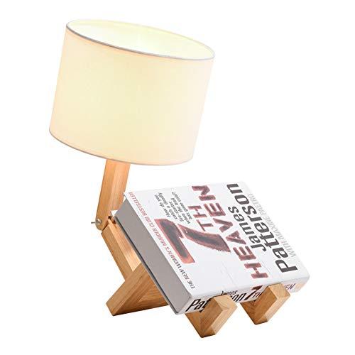 JDJD Roboter-Nachttischlampe und Tischlampen, Stoff Lampenschirm Spiel Faltbare Massivholz Körper, kreative Tischlampe für Schlafzimmer Wohnzimmer [Energieklasse A]