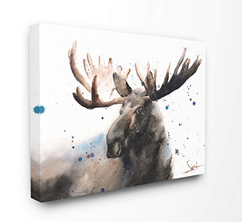 Stupell Industries Majestic Moose Watercolor Painting with Blue Splatter Canvas Wall Art, 30 x 40, Multi-Color