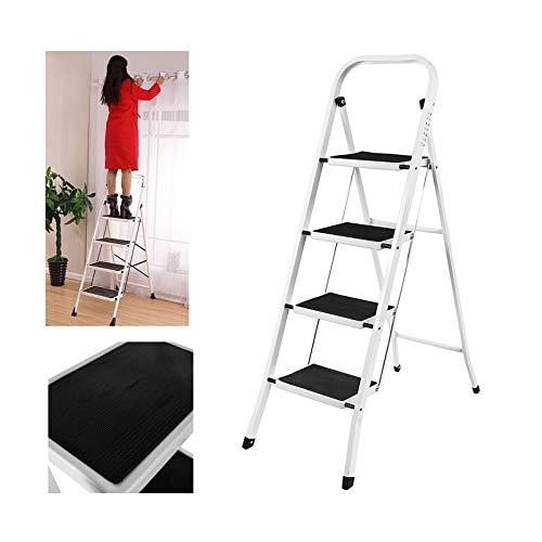 4 Stufen Klappstufen Trittleiter Klappbar Leichte Stehleiter Anti-Rutsch-Schritte für die Reinigung der Küche im Home Office Dekorieren Lackieren 150 kg max Belastung