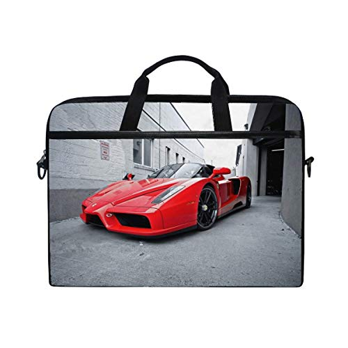 Red Street Ferrari Ferrari Enzo Laptop Shoulder Messenger Bag Case Sleeve for 14 Inch to 15.6 Inch with Adjustable Notebook Shoulder Strap