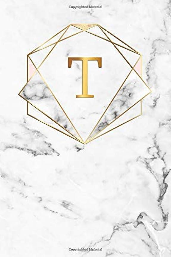 会議主導権重要性T: Cute Initial Monogram Letter T College Ruled Notebook. Pretty Personalized Medium Lined Journal & Diary for Writing & Note Taking for Girls and Women - Nifty Marble & Gold Print
