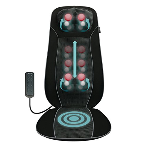 SALTER Rücken- und Schultermassagegerät, Masssageauflage, Massagesessel zur Entspannung für Rücken- und Schultermuskulatur, tiefenwirksame Rollen- und Vibrationsmassage mit Wärmefunktion