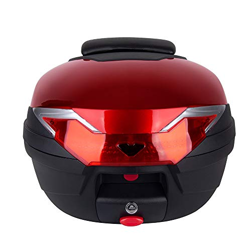 Comie Motorcycle Tour Tail Box Scooter Trunk Luggage Top Lock Storage Carrier Case with soft backrest and Quick-release System - 32L Capacity - Can Store (1) Full Helmet (Red)