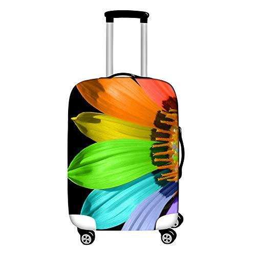 Surwin 3D Cubierta de Equipaje Protectora Suave Elástico Anti-Polvo Lavable Funda de Maleta Luggage Cover con Cremallera Viaje Cubierta de la Caja (Pétalos de Colores,L (26-28 Pulgadas))