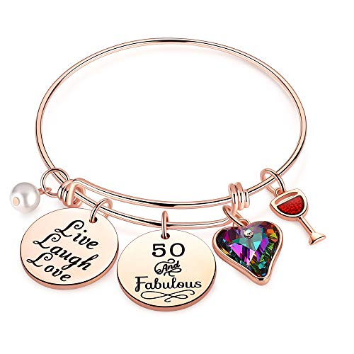 Ursteel 50th Birthday Gifts Women, Gift for 50th Birthday Woman Turning 50 Years Old Birthday Gifts for Sister Women Friends Female, 50 and Fabulous Bracelet Happy 50th Birthday
