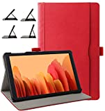 ZoneFoker Samsung Galaxy Tab A7 10.4 2020 Case, Business Leather Cover, Multi-Angle Viewing Folio Stand Case with Pencil Holder/Pocket for Galaxy Tab A 7 10.4 SM-T500/T505/T507 (Red)