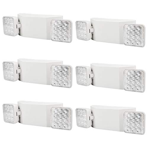 AKT LIGHTING Commercial Emergency Light, Back-up Battery Emergency Exit Lighting Fixtures with Adjustable Hardwired 2 LED Head Wall Mount White for Hallways/Stairways, UL Certified(6 Pack)