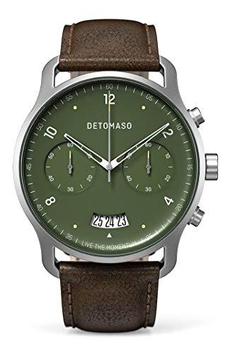 DETOMASO SORPASSO Cronografo Green Orologio da polso da uomo analogico al quarzo, cinturino in pelle italiana marrone scuro