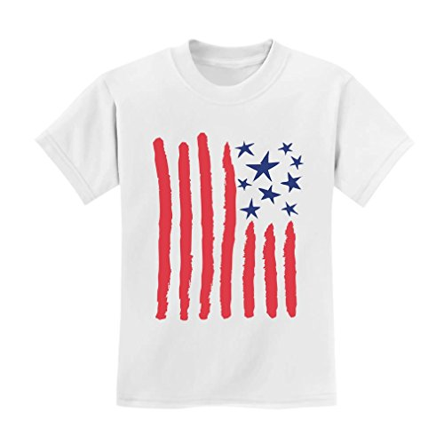 Children's Drawing USA Flag - 4th of July American Flag Kids T-Shirt 4T White
