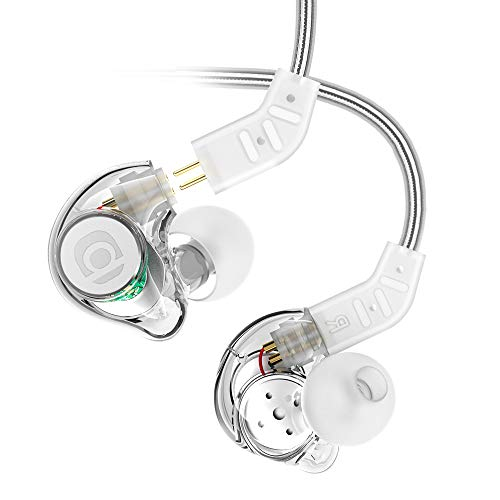 In Ear Monitor, Adorer IM8 Universal-Fit In Ear Headphone with Microphone and Remote, Noise Isolating Removable Cable Earphones for Musician's, Drummer, DJ, Singer - Transparent