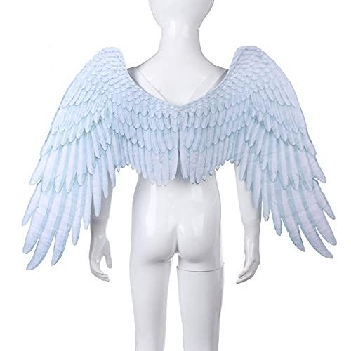 HVW Alas de ngel 3D para nios, nias y Adultos, Accesorio de Disfraz de Halloween, Plumas Creativas, alas de ngel, Suministros de Cosplay para Fiesta de Navidad,Blanco,Children