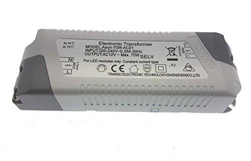 Trango ASUN-70-AC01 LED Transformator 12 Volt AC – max. 70 Watt – Trafo, Niedervolt Netzteil, LED Driver für MR16, GU5.3, G4 LED Leuchtmittel, Stripe, Band, lampen