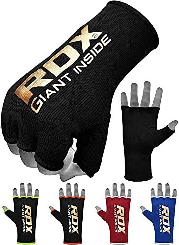 RDX Bandages de Boxe élastiques, sous-Gants L Schwarz