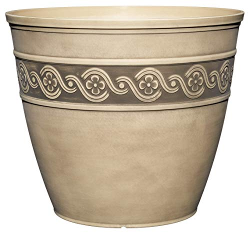 Classic Home And Garden 9411D-060 Corinthian Collection Planter, 10' Round, Ivory Ash