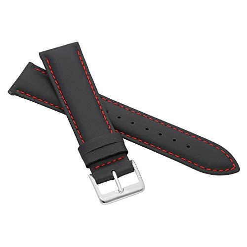 MARCHEL Glattleder LLB Lederarmband Echtleder Uhrenarmband Rindsleder Feines Leder (12 mm, Schwarz-Rot)