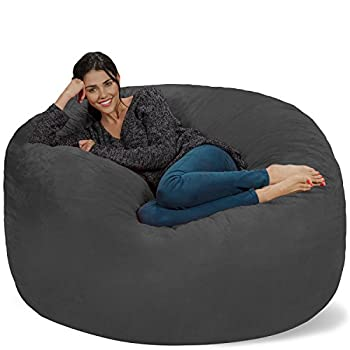 Chill Sack Bean Bag Chair  Giant 5  Memory Foam Furniture Bean Bag - Big Sofa with Soft Micro Fiber Cover - Charcoal