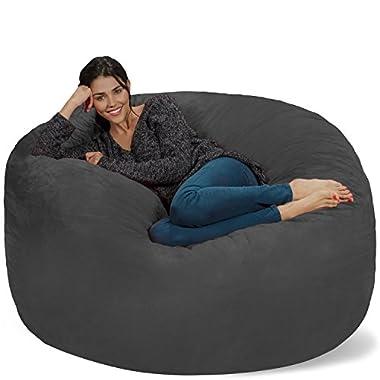 Chill Sack Bean Bag Chair: Giant 5′ Memory Foam Furniture Bean Bag – Big Sofa with Soft Micro Fiber Cover – Charcoal