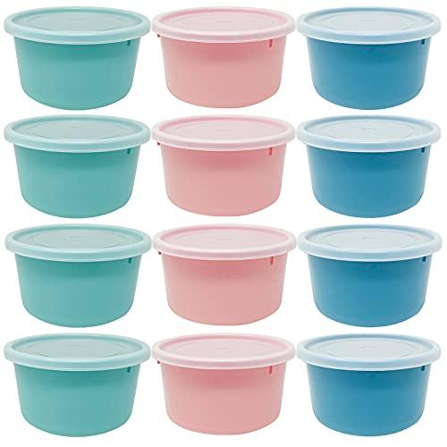 Codil Juegos Tupper de Plásticos para Alimentos,Tapers Redondo Pequeños Reutilizables para Comida Sin BPA,Recipientes con Tapa,Apto para Lavavajillas Microondas y Congelador(Rosa Verde y Azul,12x0.3L)