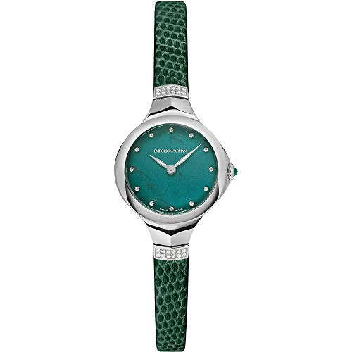 Emporio Armani Swiss Special Edition Analogue Quartz Watch with Green Lizard Leather Strap for Women ARS8150