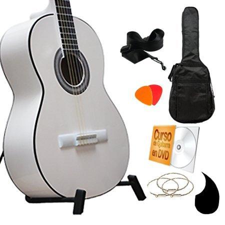 Guitarrra Clasica Blanca en Super paquete todo incluido, curso en DVD