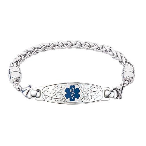 Divoti Custom Engraved Medical Alert Bracelets for Women, Stainless Steel Medical Bracelet, Medical ID Bracelet w/Free Engraving – Beautiful Olive Tag w/Wheat-Deep Blue-7.5'