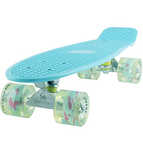 Skateboard Light Blue Complete Youth 22 inch Mini Cruiser Skateboards for Kids Boys Girls Beginners Child Toddler Teenagers Dog Age 5 to 8 (Light Blue)