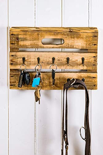 Schlüsselbrett, Schlüsselboard aus Altholz Holz alter Obstkiste mit 10 Haken, Handmade, Unikat