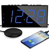 Alarm Clock for Heavy Sleepers with Bed Shaker, Vibrating Alarm Clock with USB Charger for Deaf and Hard of Hearing, Dual Alarm Clock with 7.5'' Large Display, Dimmer, Snooze & Battery Backup (Blue)
