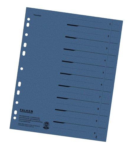 100 FALKEN Trennblätter / blau / 230 g/m² / DIN A4