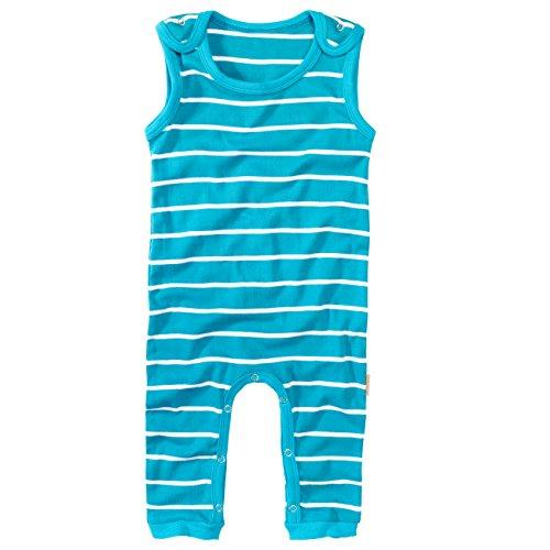 wellyou wellyou Strampler, Babystrampler blau Feinripp, kuschelig weich, (68-74, türkis/ weiß geringelt)