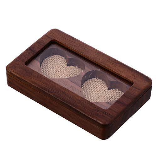 Cabilock Caja porta anillos de madera con doble caja para alianzas, para anillos, joyas, organizador de joyas, para compromiso, boda, ceremonia, San Valentín